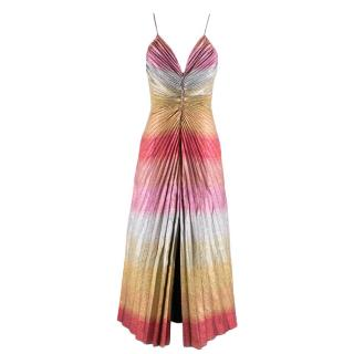 Marco de Vincenzo Front Slit Metallic Midi Dress