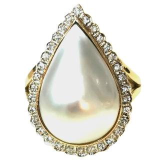 Mabe Pearl & Diamond Yellow Gold Ring