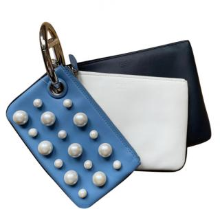 Fendi Tri-Colour Pearl Embellished Ring Clutch