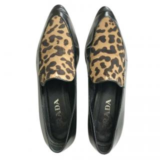 Prada Patent Leather Calf Hair Loafers