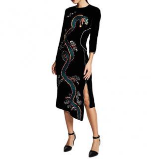Rixo Black Velvet Embroidered Christabel Dress