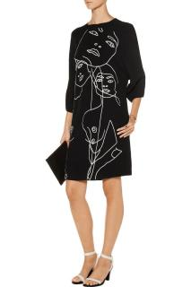 Stella McCartney James Black Embroidered Crepe Dress