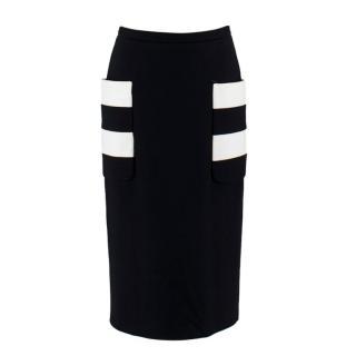 Max Mara Black & White Stretch Jersey-Paneled Skirt