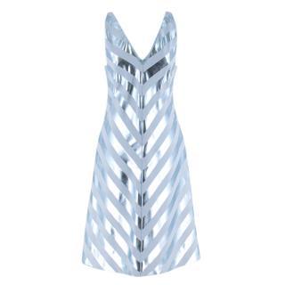 Jonathan Saunders Blue Nicola Foil-Stripe Dress