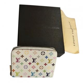 Louis Vuitton White Multicolour Monogram Zippy  Purse