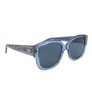 Dior Blue Studded Square Sunglasses