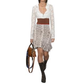 Chloe Python Print Jacquard Knit and Lace Dress