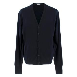 Sunspel Blue Navy Pure New Wool Cardigan