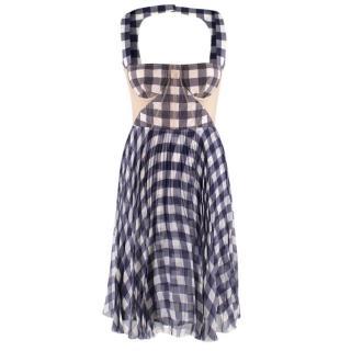 Christopher Kane Sheer Panelled Corseted Gingham Silk Mini Dress
