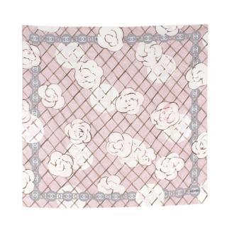 Chanel Silk Camellia Diamond CC Scarf