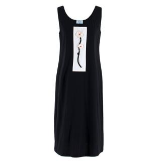 Prada Black Dress w/ Embroidered White Flower