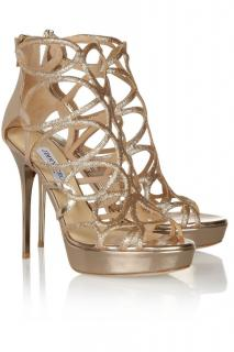 Jimmy Choo Mirrored Metallic Glitter Cut-Out Sandals