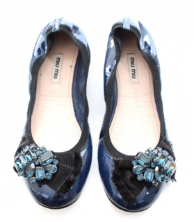 Miu Miu Blue Embellished Patent Leather Ballerina Flats