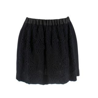 Louis Vuitton Black Embroidered Zip Up Mini Skirt