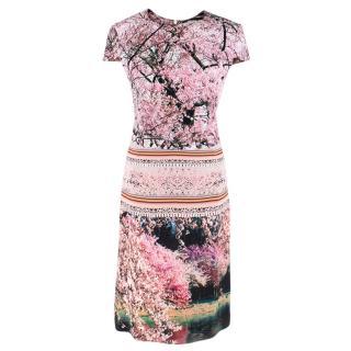 Mary Katrantzoi Cherry Blossom Cap-Sleeve Midi Dress