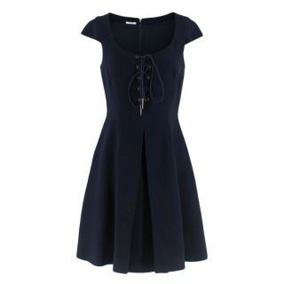 Miu Miu Navy Cap-Sleeve Lace-Up Mini Dress