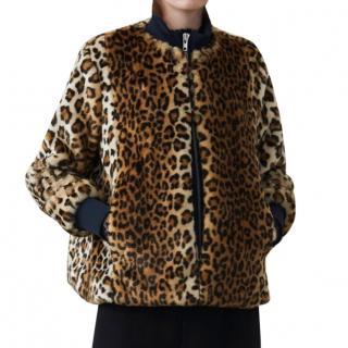 Ganni Faux Fur Leopard Print Bomber Jacket