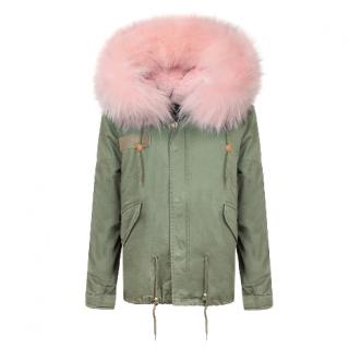 Luxy London Khaki Parka with Baby Pink Oversized Fur Trim