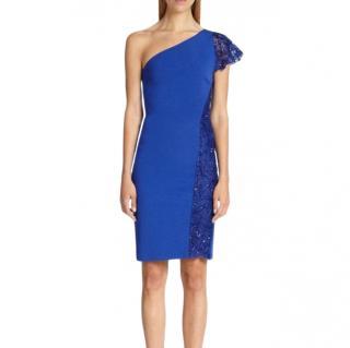 Emilio Pucci Blue One Shoulder Lace Detailed Dress
