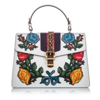 Gucci Medium Embroidered Leather Sylvie Satchel