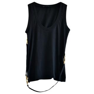 Gucci Black Belted Sleeveless Top