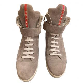 Prada Sport Grey Wedge Sneakers