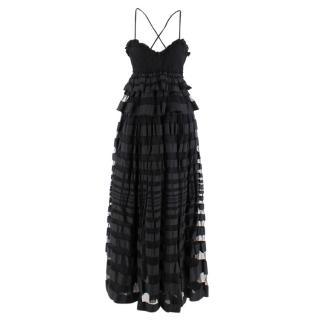 Salvatore Ferragamo Silk Tiered Black Dress