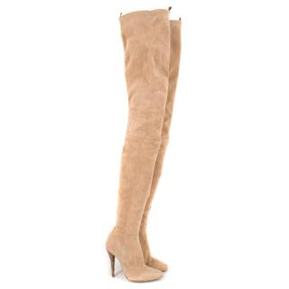 Balmain Stretch Suede Thigh-high Heeled Boots in Nude