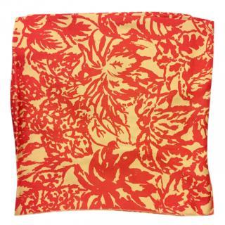 Balenciaga Cream & Red Printed Silk Scarf