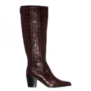 GANNI 70 mock croc Western boots