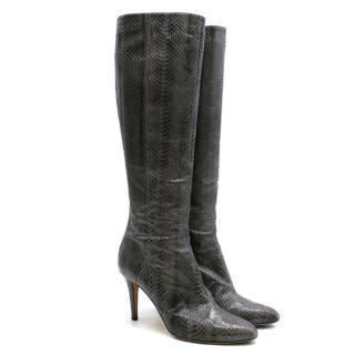 Jimmy Choo Knee High Python Heeled Boots
