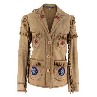 Ralph Lauren Deer Skin Leather Jacked with Fringe-Trim