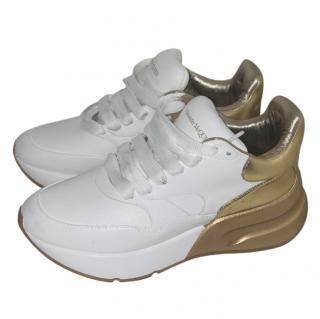 Alexander McQueen Metallic Gold & White Platform Trainers