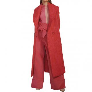 Paper London Mohair Rainbow Coat in Punch Pink