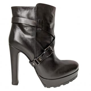 Belstaff Black Leather Buckle Wrap Ankle Boots