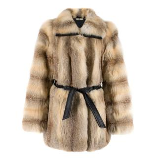 Balenciaga Fox Fur Coat with Leather Belt