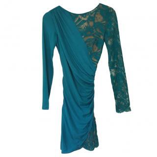 Emilio Pucci Turquoise Lace Layered Mini Dress