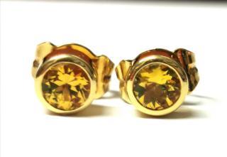 Bespoke Yellow Sapphire Rub Over Stud Earrings