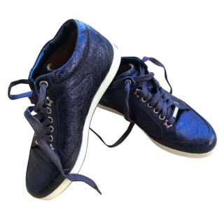 Jimmy Choo Navy Crackled Leather Miami Sneakers