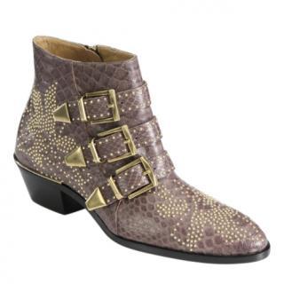 Chloe Taupe Python Studded Susannah Boots