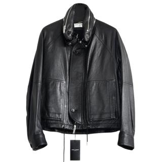 Saint Laurent Runway Black Leather Jacket With Detachable Collar/Hood