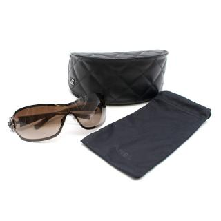 Chanel Taupe Camellia Pilot Sunglasses