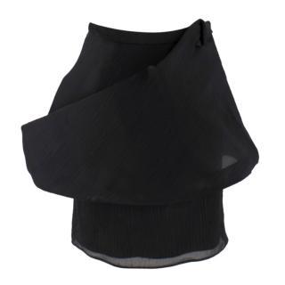 Emilio De La Morena Structured Tiered Black Skirt