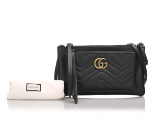 Gucci Black Marmont Crossbody Bag with Removable Pouch