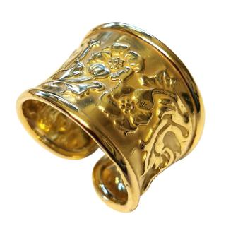 Bassani Gold Floral Band Ring