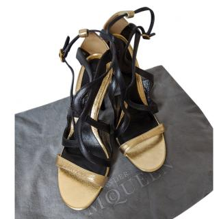 Alexander McQueen Metallic Gold & Black Leather Sandals