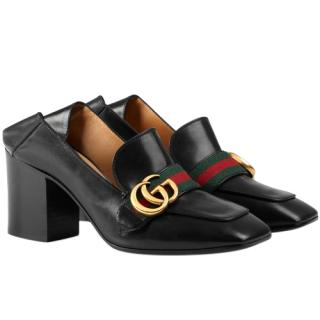 Gucci Black Webstripe GG Mid Heel Collapsible Loafers