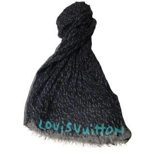Louis Vuitton Limited Edition Cashmere & Silk Leopard Print Scarf
