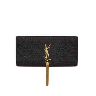 Saint Laurent Shiny Croc Embossed Kate Tassel Clutch