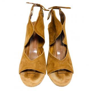 Aquazurra Tan Suede Cut-Out Sandals